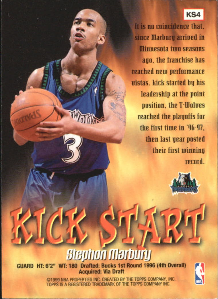 1998-99 Topps Kick Start #KS4 Stephon Marbury back image