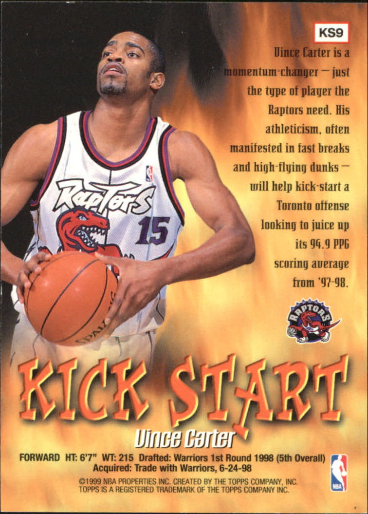 1998-99 Topps Kick Start #KS9 Vince Carter back image