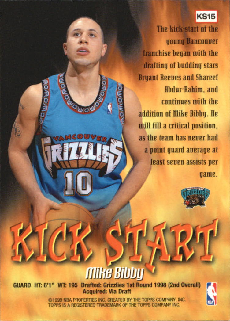 1998-99 Topps Kick Start #KS15 Mike Bibby back image