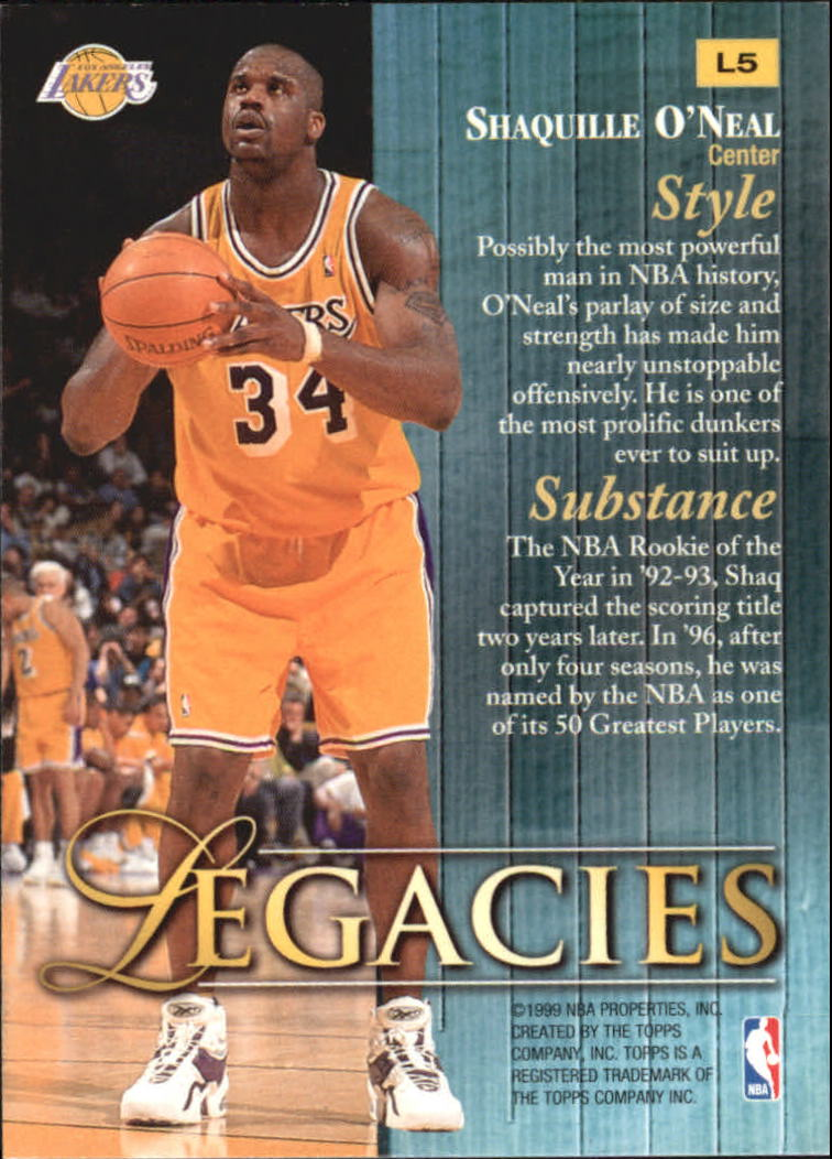 1998-99 Topps Legacies #L5 Shaquille O'Neal back image