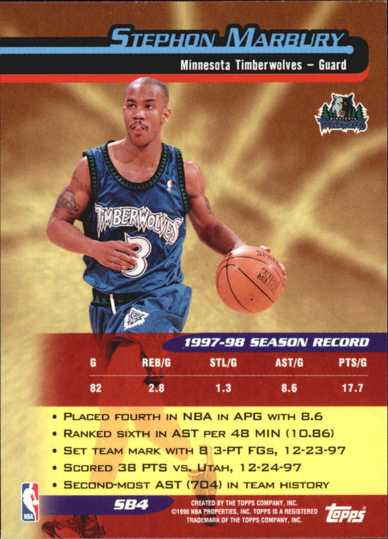 1998-99 Topps Season's Best #SB4 Stephon Marbury back image