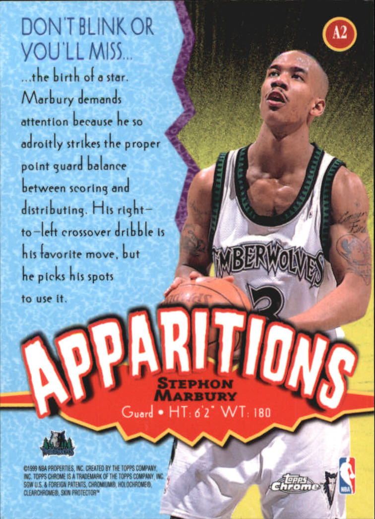 1998-99 Topps Chrome Apparitions #A2 Stephon Marbury back image
