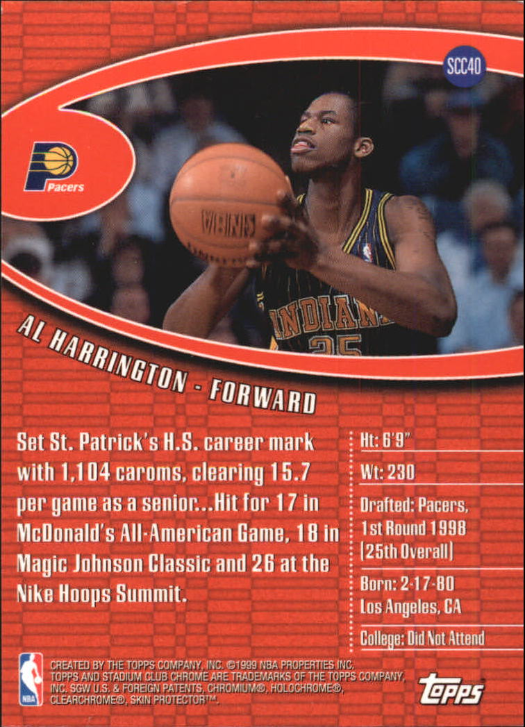 1998-99 Stadium Club Chrome #SCC40 Al Harrington back image