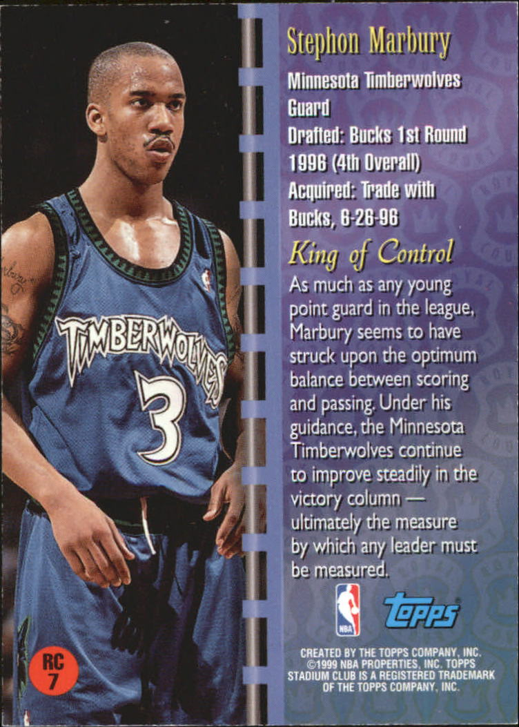 1998-99 Stadium Club Royal Court #RC7 Stephon Marbury back image