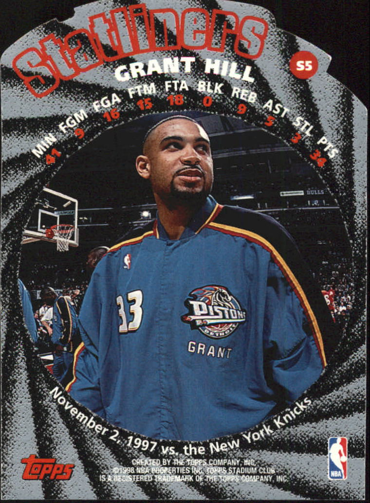 1998-99 Stadium Club Statliners #S5 Grant Hill back image