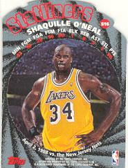 1998-99 Stadium Club Statliners #S16 Shaquille O'Neal back image