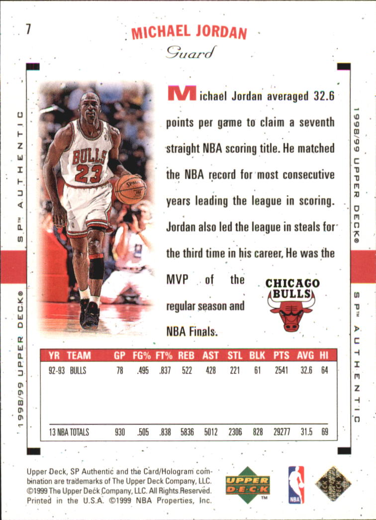1998-99 SP Authentic #7 Michael Jordan back image