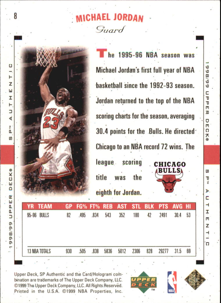 1998-99 SP Authentic #8 Michael Jordan back image