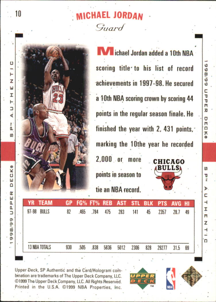 1998-99 SP Authentic #10 Michael Jordan back image
