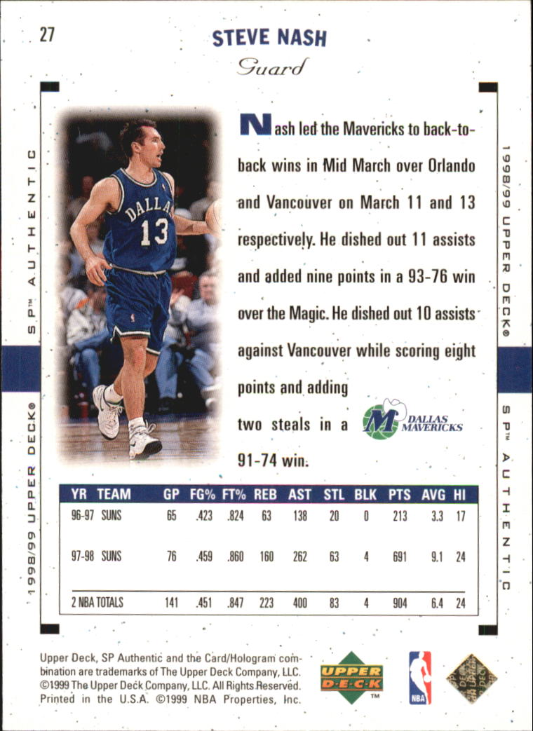 1998-99 SP Authentic #27 Steve Nash back image