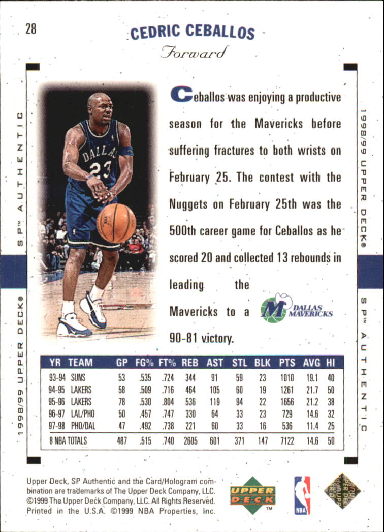 fbe7295e410 1998-99 SP Authentic Basketball ( 1-115) Your Choice ...