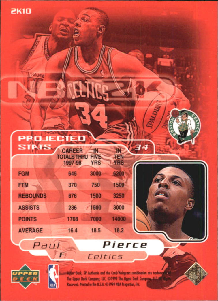 1998-99 SP Authentic NBA 2K #2K10 Paul Pierce back image