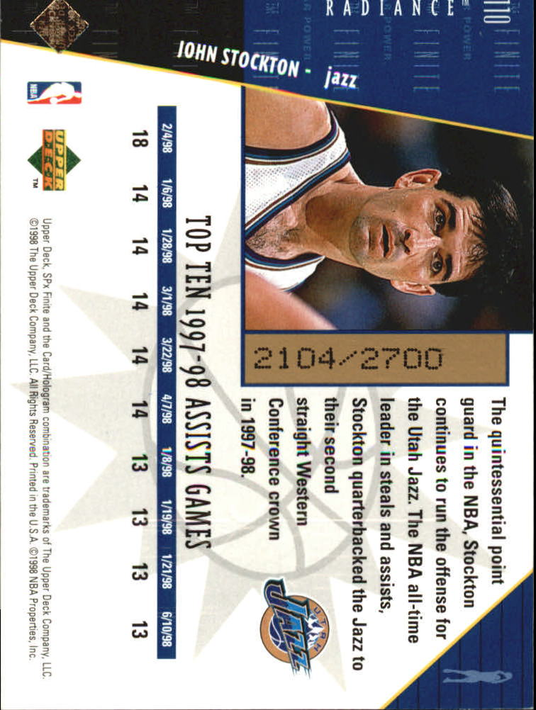 1998-99 SPx Finite Radiance #110 John Stockton SP
