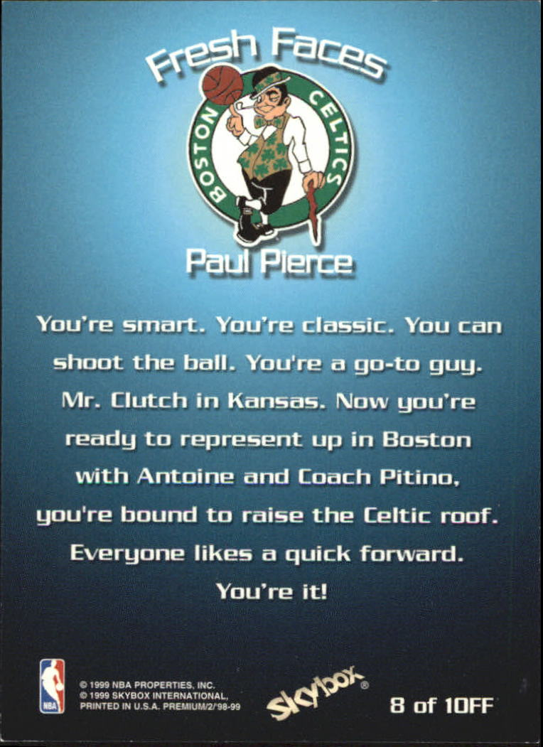 1998-99 SkyBox Premium Fresh Faces #8 Paul Pierce back image