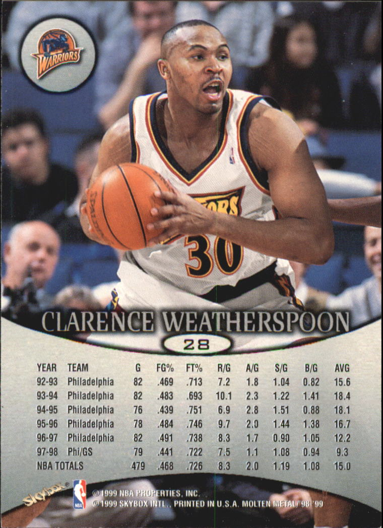 1998-99 SkyBox Molten Metal #28 Clarence Weatherspoon back image