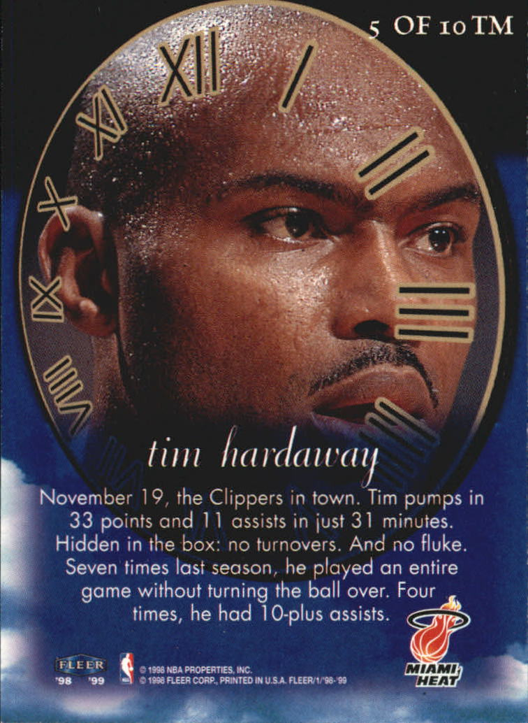 1998-99 Fleer Timeless Memories #5 Tim Hardaway back image