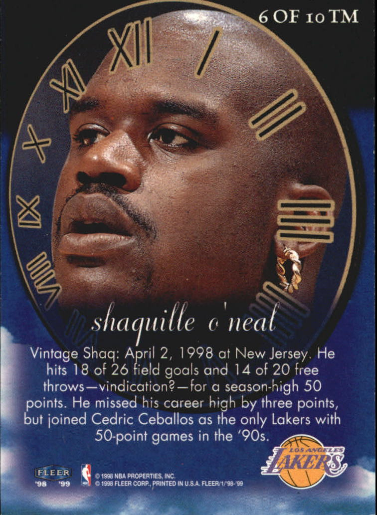 1998-99 Fleer Timeless Memories #6 Shaquille O'Neal back image
