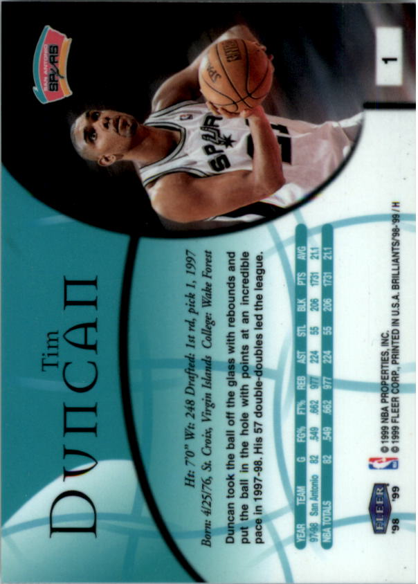1998-99 Fleer Brilliants #1 Tim Duncan back image