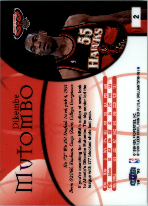 1998-99 Fleer Brilliants #2 Dikembe Mutombo back image