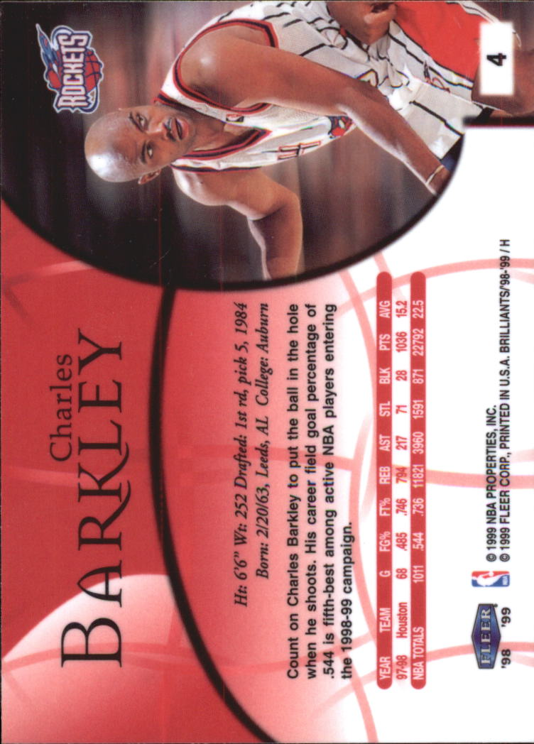 1998-99 Fleer Brilliants #4 Charles Barkley back image
