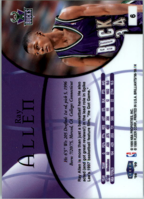 1998-99 Fleer Brilliants #6 Ray Allen back image
