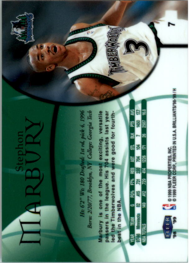 1998-99 Fleer Brilliants #7 Stephon Marbury back image