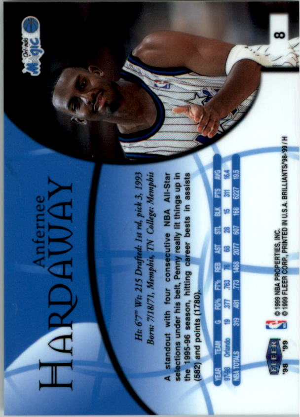 1998-99 Fleer Brilliants #8 Anfernee Hardaway back image