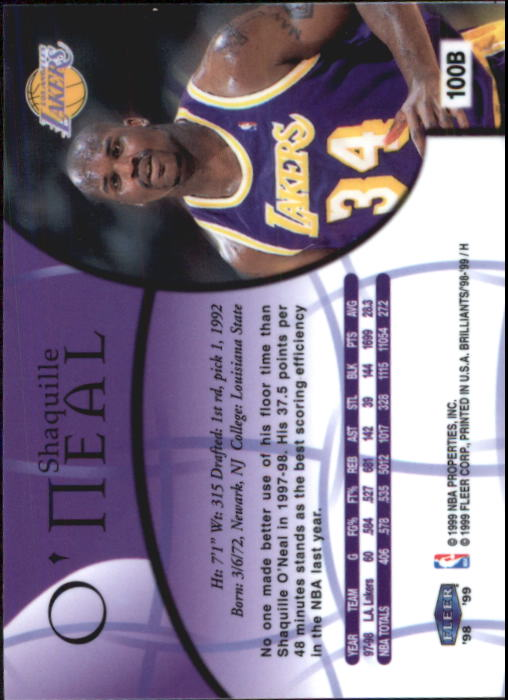 1998-99 Fleer Brilliants #100 Shaquille O'Neal back image