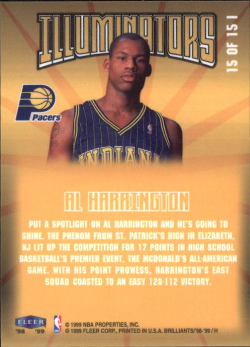 1998-99 Fleer Brilliants Illuminators #15 Al Harrington back image