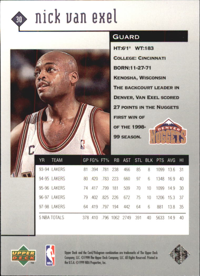 1998-99 Black Diamond #30 Nick Van Exel back image