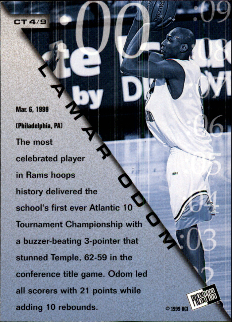 1999 Press Pass Crunch Time #CT4 Lamar Odom back image