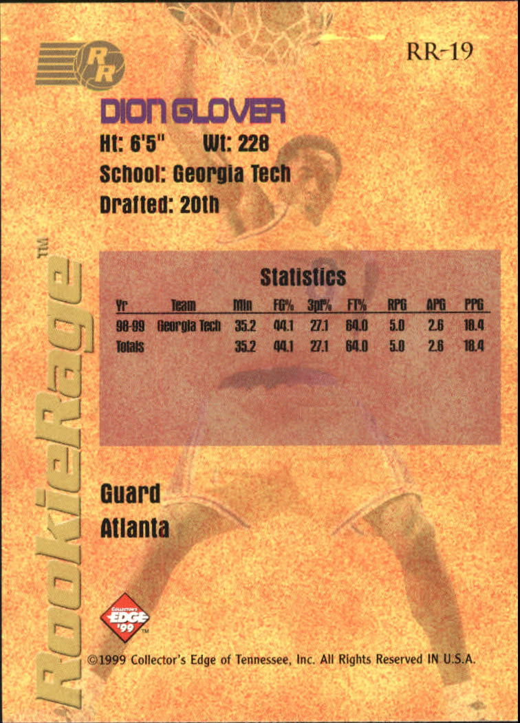 1999 Collector's Edge Rookie Rage #19 Dion Glover back image