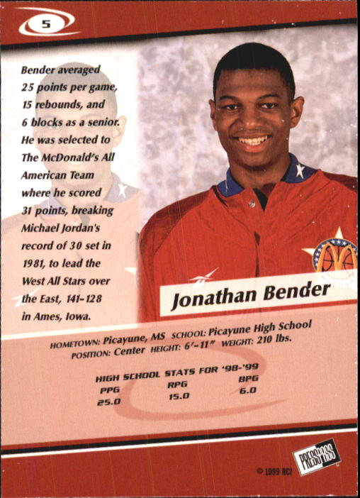 1999 Press Pass #5 Jonathan Bender back image