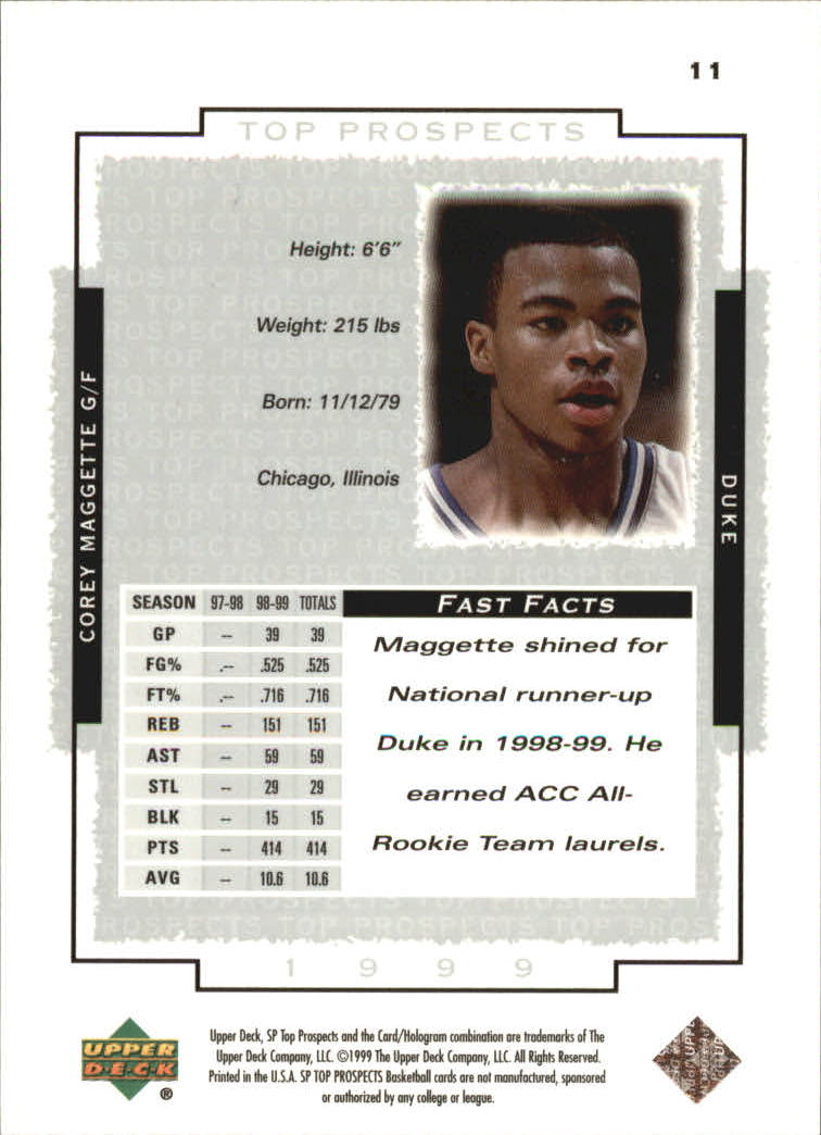 1999 SP Top Prospects #11 Corey Maggette back image