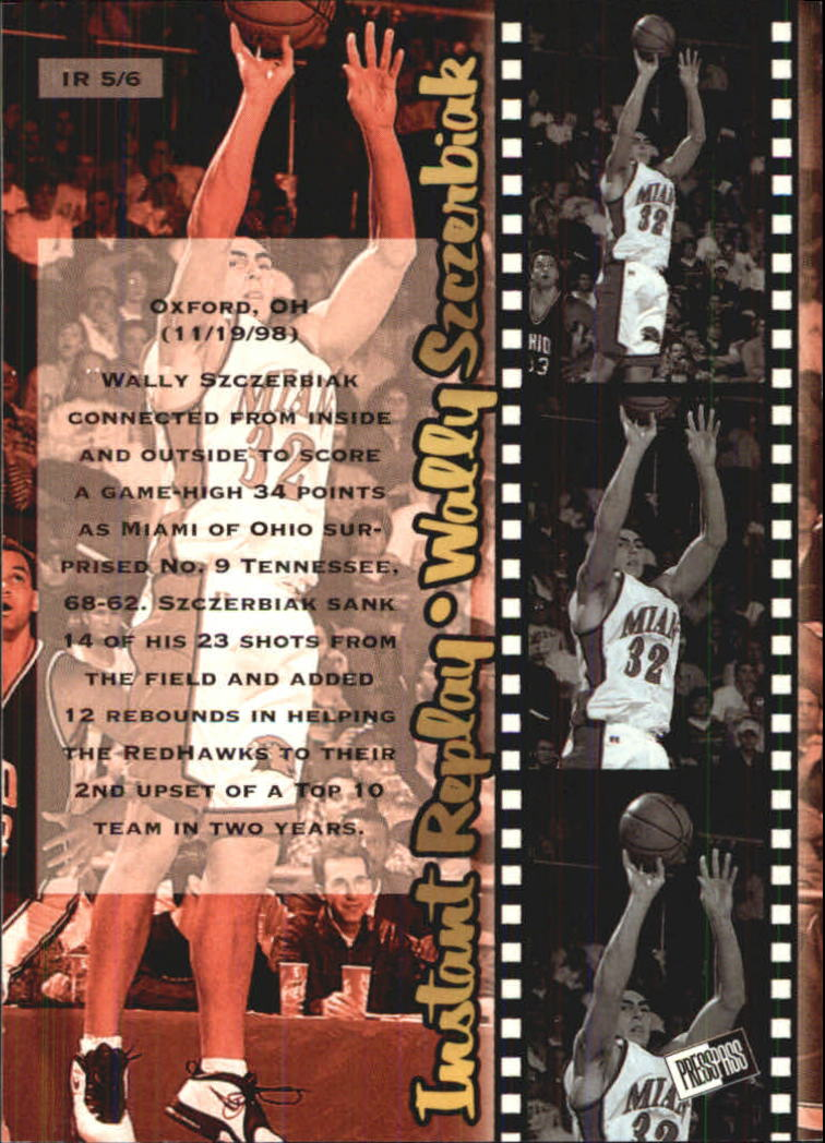 1999 Press Pass SE Instant Replay #IR5 Wally Szczerbiak back image