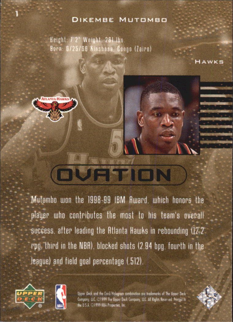 1999-00 Upper Deck Ovation #1 Dikembe Mutombo back image