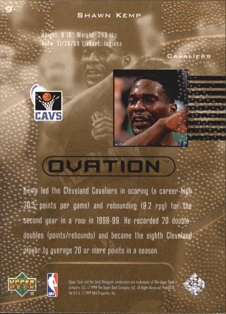 1999-00 Upper Deck Ovation #9 Shawn Kemp back image