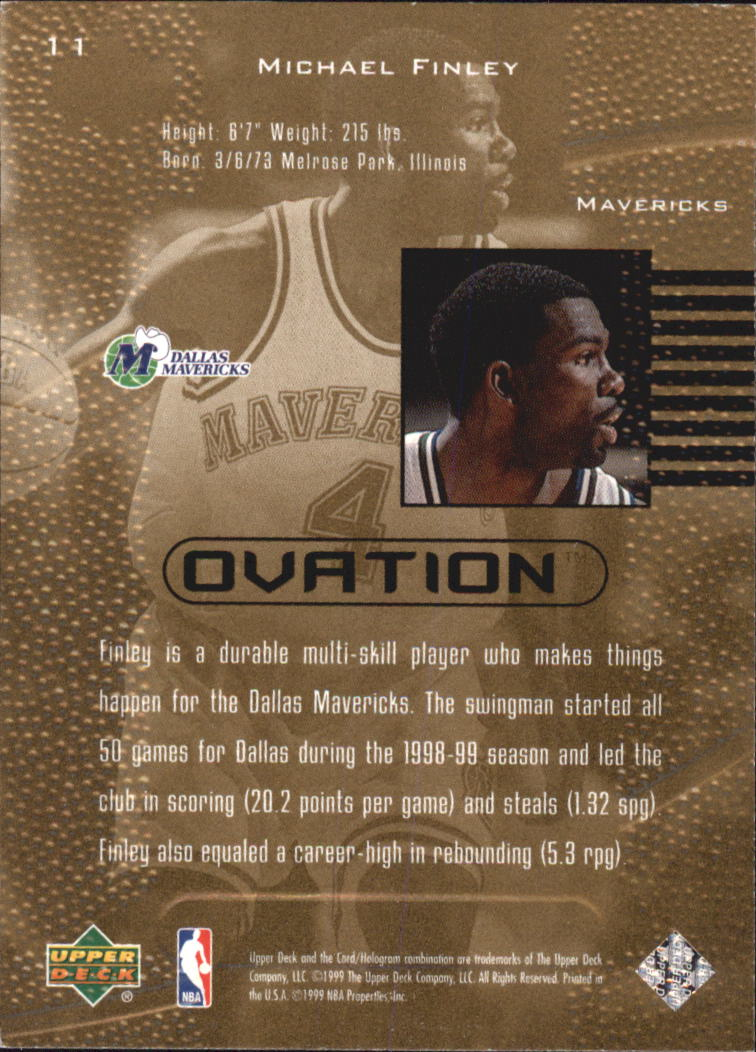 1999-00 Upper Deck Ovation #11 Michael Finley back image