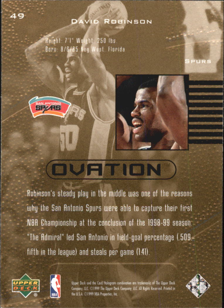 1999-00 Upper Deck Ovation #49 David Robinson back image