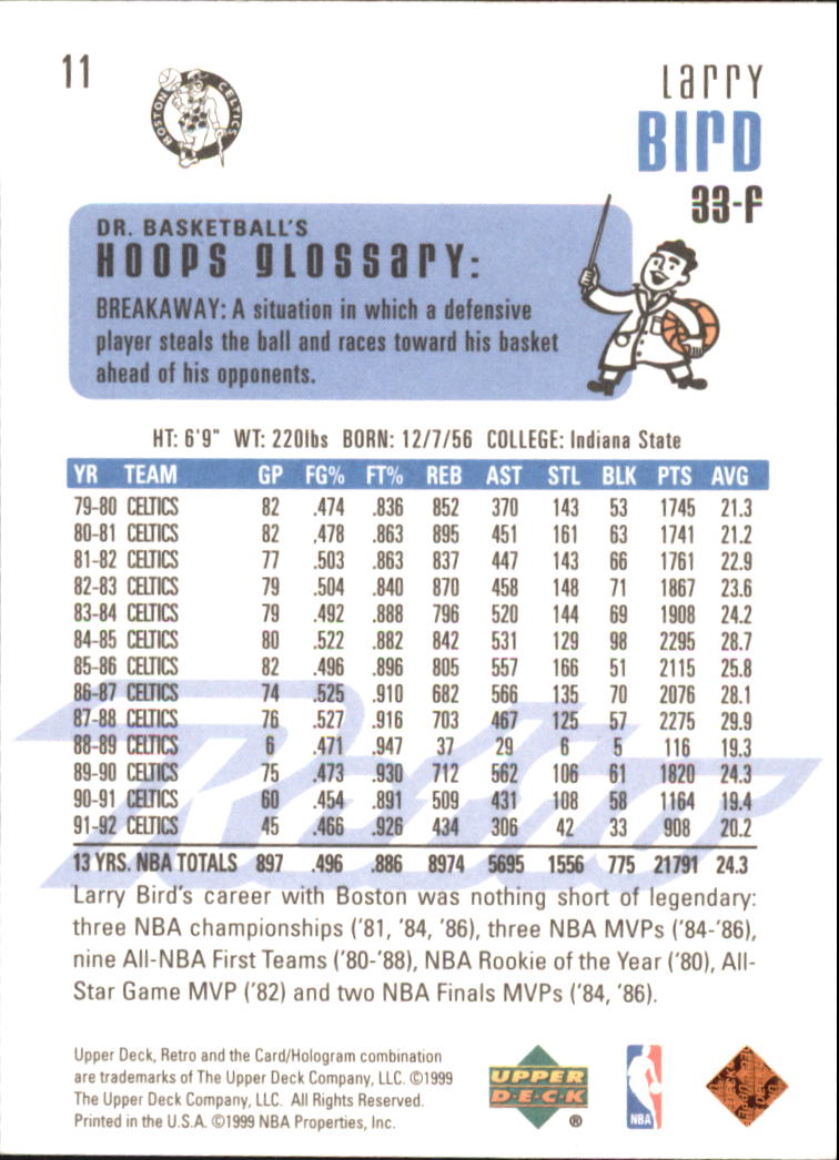 1999-00 Upper Deck Retro #11 Larry Bird back image