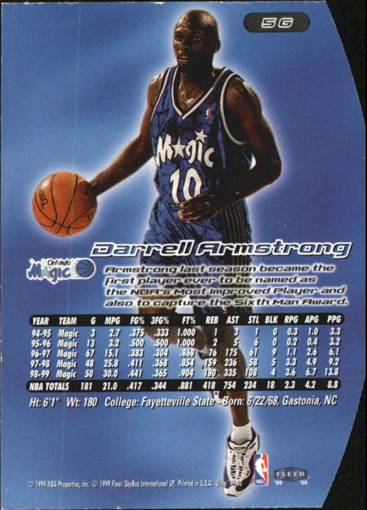 1999-00 Ultra Gold Medallion #5 Darrell Armstrong back image