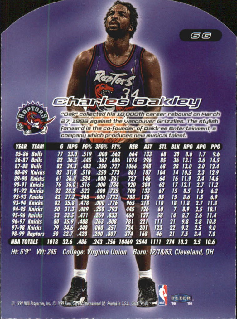 1999-00 Ultra Gold Medallion #6 Charles Oakley back image