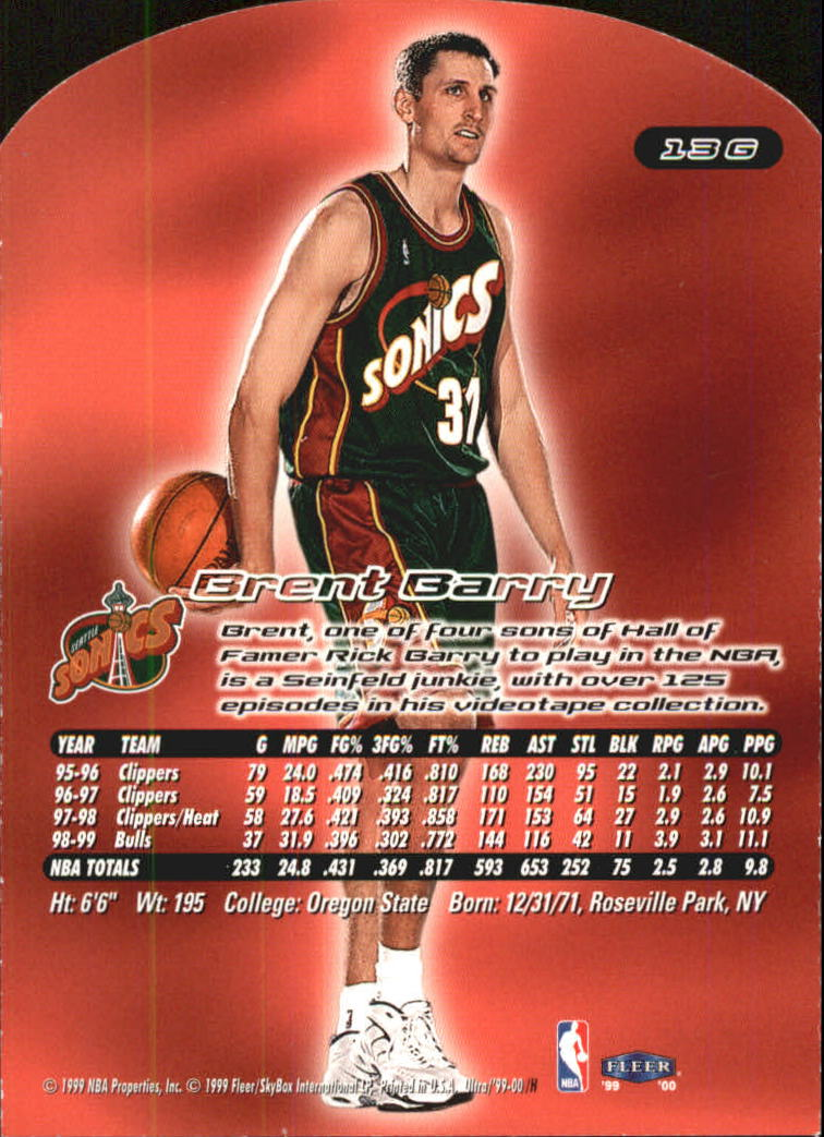 1999-00 Ultra Gold Medallion #13 Brent Barry back image