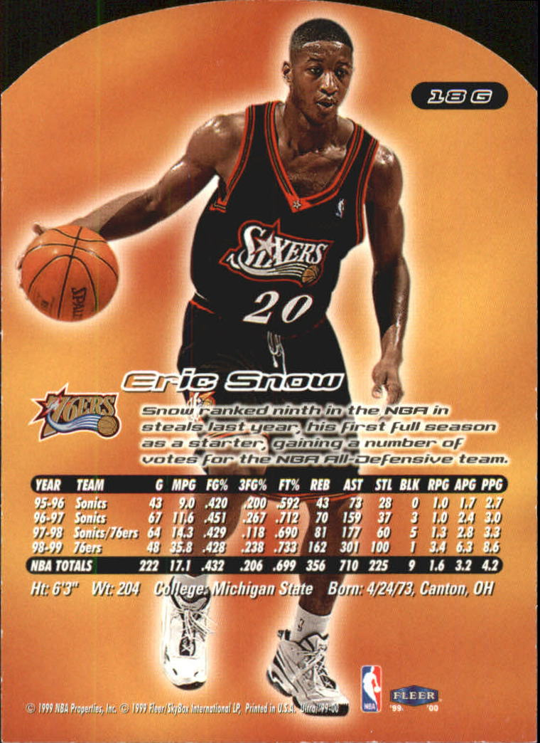 1999-00 Ultra Gold Medallion #18 Eric Snow back image