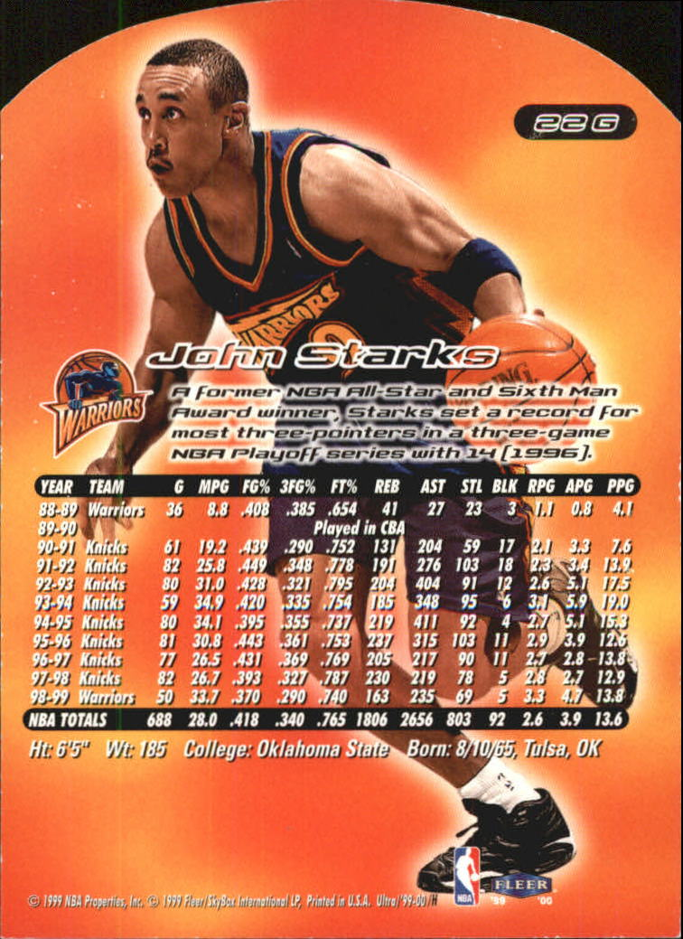 1999-00 Ultra Gold Medallion #22 John Starks back image