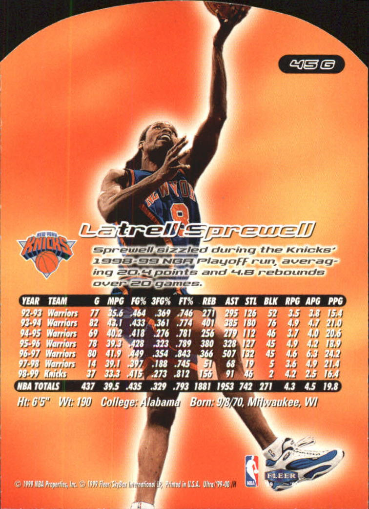 1999-00 Ultra Gold Medallion #45 Latrell Sprewell back image
