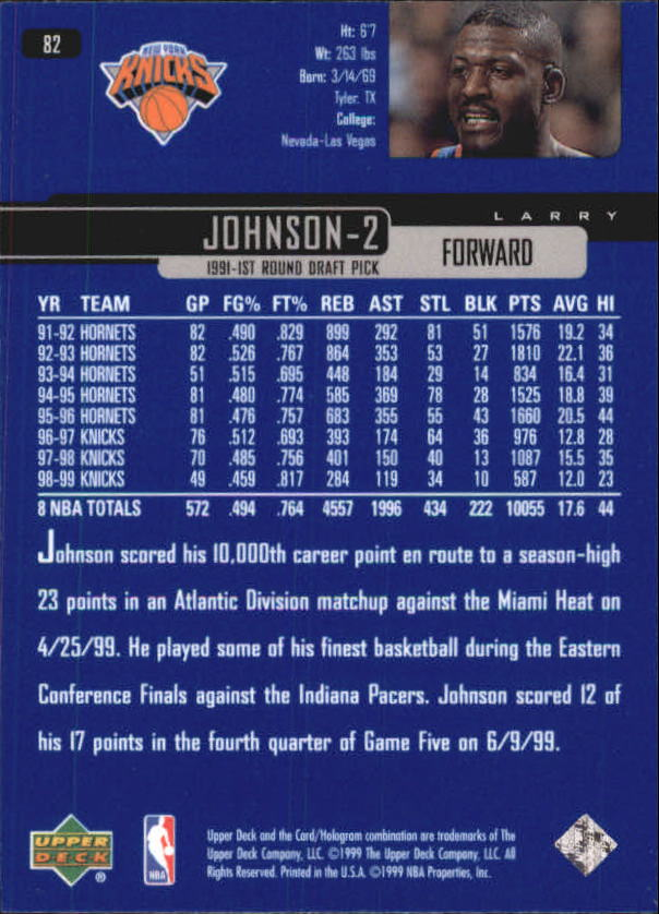 1999-00 Upper Deck #82 Larry Johnson back image