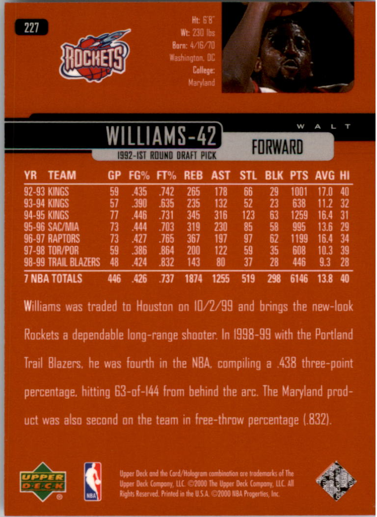1999-00 Upper Deck #227 Walt Williams back image