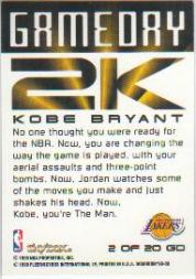 1999-00 SkyBox Dominion Game Day 2K #2 Kobe Bryant back image