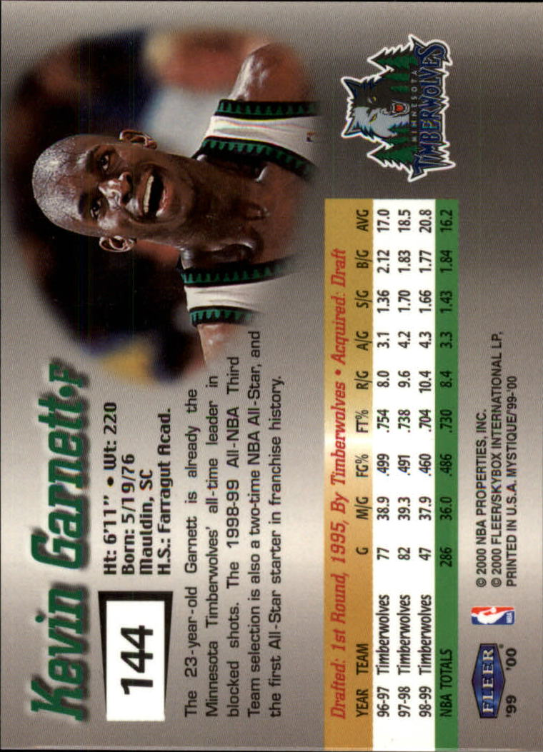 1999-00 Fleer Mystique #144 Kevin Garnett STAR back image
